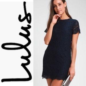 LULU'S Navy Blue Short Sleeves Lace Dress